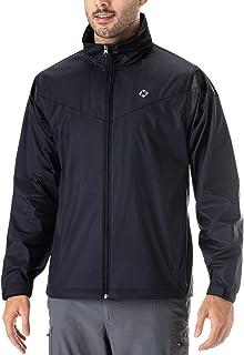 NAVISKIN Men's Waterproof Rain Jacket Raincoat Hideaway Hood Lightweight Packable Poncho