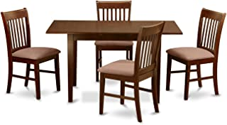 East West Furniture 5-Piece Kitchen Nook Dining Table Set, Mahogany Finish