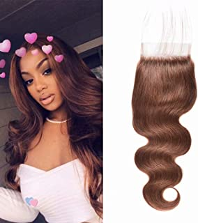 Raw Indian Hair Closure Body Wave 4x4 Free Part Unprocessed Virgin Human Hair Lace Closure Pre plucked with Baby Hair Color 4 Light Brown (18inch, 4)