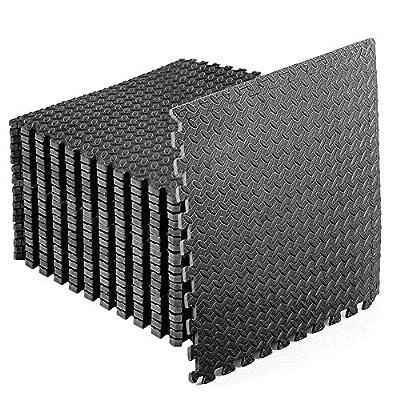 StillCool Puzzle Exercise Floor Mat, EVA Interlocking Foam Tiles Exercise Equipment Mat with Border - for Gyms, Yoga, Outdoor Workouts, Kids (E. 48 Square Feet (12 Tiles) - Black)