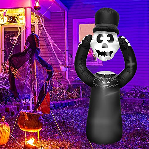 Inflatable Halloween Decorations Outdoor – 6 Ft Tall Skull Skeletons Ghost Grim Reaper Blow Up Yard Decoration Clearance with LED Lights Built-in for Holiday/Party/Yard/Garden with Stakes Tethers