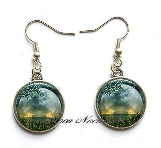moon Earrings,Summer Solstice Earrings, full moon Earrings, solstice jewelry, Wiccan jewelry, pagan jewelry, Beltane Earrings-ZE284