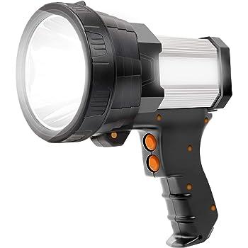 Super Bright LED Spotlight Rechargeable Flashlight 6000 Lumen Handheld Spotlight 10000mAh Long Lasting Torchlight Searchlight Flood Fishing Hiking Camping Flashlight USB Output with Tripod (Sliver)
