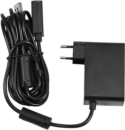 Vbestlife Adaptador de Cable de Alimentación USB para Microsoft Xbox 360 Cargador de Sensor de Kinect con Enchufe UE(Negro)