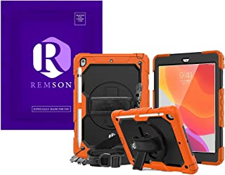 Apple Ipad 10.2 (2019) Remson Rugged Shockproof Drop Protection with 360 Rotating Kickstand/Shoulder Strap Cover (Orange)