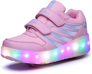 Ufatansy Uforme Kids Wheelies Lightweight Fashion Sneakers LED Light Up Shoes Single Wheel Double Wheels Roller Skate Shoes