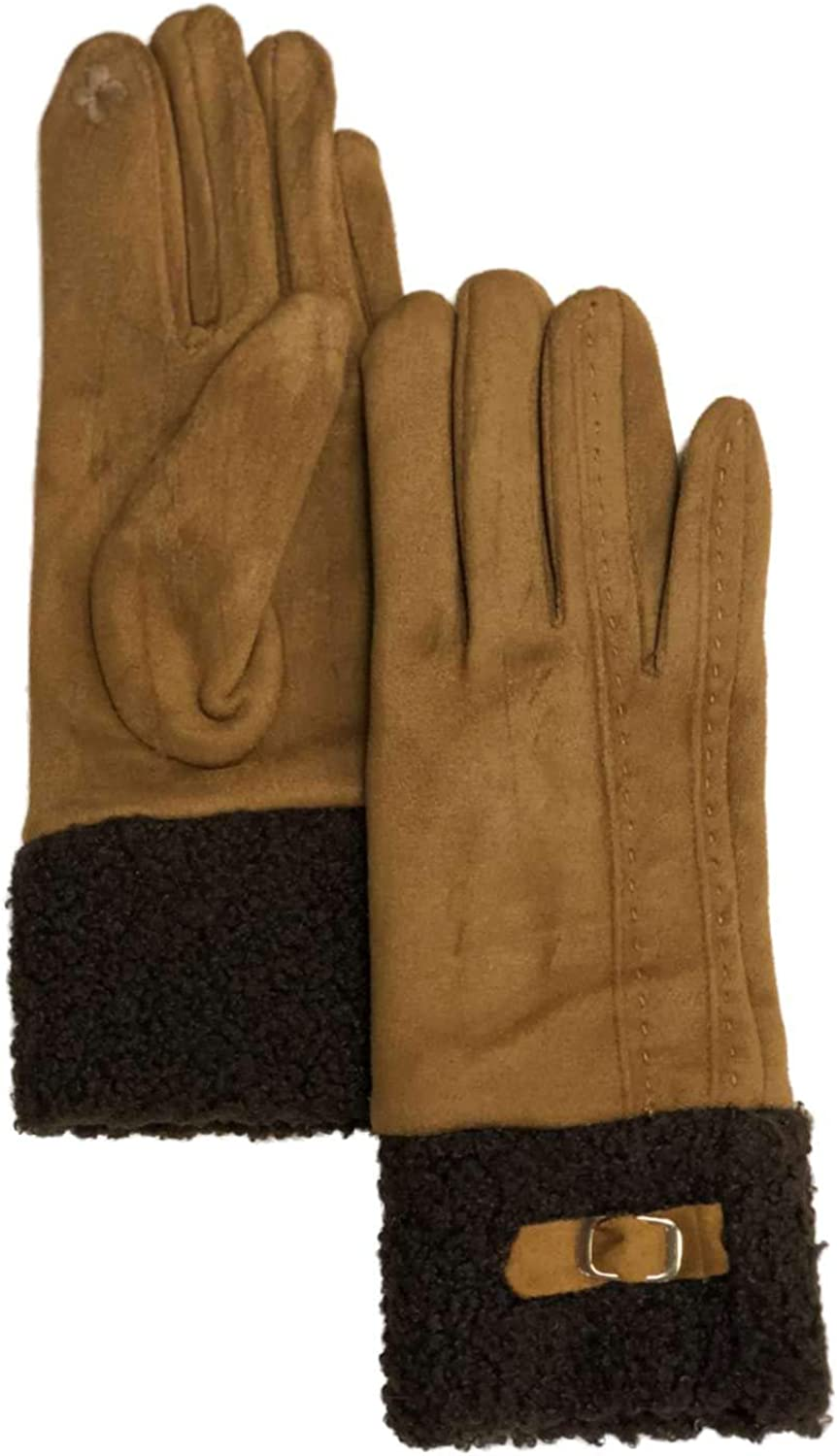 Womens Soft Tan & Brown Buckle Stretch Fit Texting & Tech Touchscreen Gloves