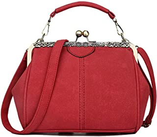 Abuyall Retro Kiss Lock Suede Leather Minimalist Crossbag Bag Warm Shoulder Bag Purse Handbag Totes Bag Satchel Pt4