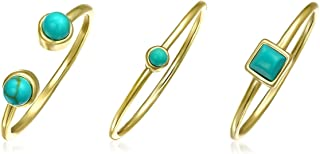 Tiny Geometric Compressed Blue Turquoise 14K Gold Plated Sterling Silver Midi Knuckle Stackable Ring Set 1MM For Women
