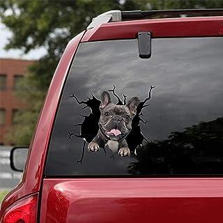 2 個フレンチブルドッグクラック車のステッカー、ペットおかしい子犬の恋人のステッカー、車の壁のラップトップに適した 10.2 インチ (01)