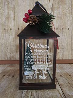 Christmas in Heaven Lantern with tea light, gift or home decor for Lost Loved One