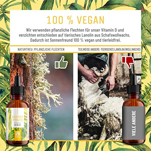 Vitamin D3 K2 Tropfen hochdosiert und vegan - 100% pflanzlich (ohne tierisches Lanolin) - 1000 IE Vitamin D vegan & Vitamin K2 - Sonnenfreund D3K2 Öl geprüft & hergestellt in Deutschland - 6