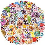 Autocollant, 100pcs Autocollants Pokemon, Graffiti Autocollants Pack, Autocollants de Mode, Vinyle Imperméable, Utilisé pour les Ordinateurs Portables, les Voitures, les Valises de Skateboard (C)