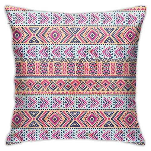 DHNKW Kissenbezug Kissenbezug ,Retro Ethnic Aztec Spring Native American Vintage Pattern ,18 x 18 Zoll