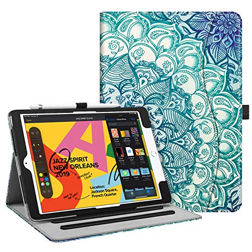 Fintie Case for New iPad 7th Generation 10.2 Inch 2019 - [Corner Protection] Multi-Angle Viewing Folio Smart Stand Back Cover with Pocket, Pencil Holder, Auto Wake/Sleep, Emerald Illusions