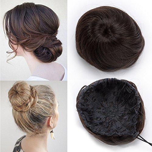 TESS Haarteil Haargummi Dutt mit Haaren Rehbraun Glatt Haarknoten Hochsteckfrisuren günstig Hair Extensions für Frauen 45g