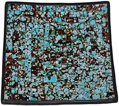 Curious Designs Mosaic Glass Tray - Turquoise Trail Theme - 7.5 Inches Square, Some Color Variation, Richer Color