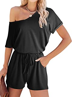ANRABESS Women's Loose Tie Dye Off Shoulder V Neck Batwing Sleeve Elastic Waist Stretchy Short Romper Jumpsuit with Pockets