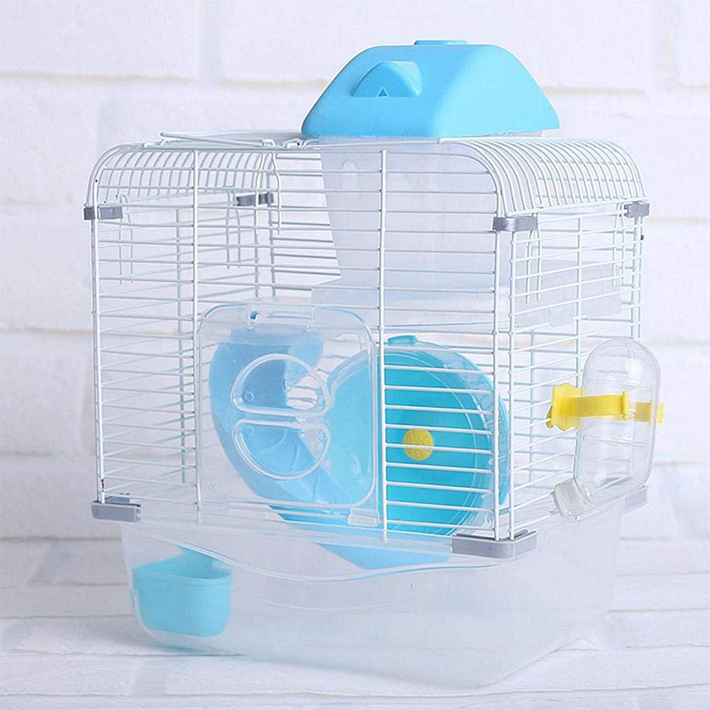 S-World 4Home Hamster Cage - AsyPets Crystal Pet Cage Hamster Cottage Double Layer House for Hamster Golden Hamster Pet