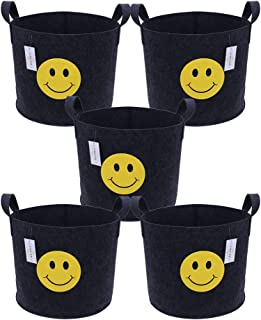 FHQSX Thicken Aeration Fabric Pots with Handles/5-Pack 5 Gallon Grow Bags(Black)