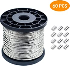 1/16 Wire Rope, 304 Stainless Steel Wire Cable 7x7 Strand Core 328ft Length Aircraft Cable 368 lbs Breaking Strength with 60 Pcs Aluminum Crimping Clamps Loop Sleeve