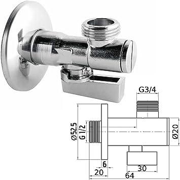 """Eckventil 1//2/""""x3//4/"""" Eckregulierventil Anschlussventil Spülmaschine Waschmaschine"""