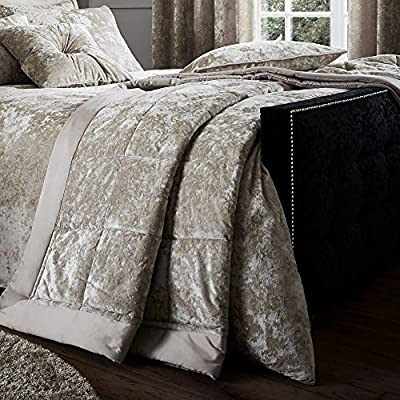 Catherine Lansfield Crushed Velvet Bedspread, Polyester, Silver Or Natural, Double Or King Cushion Available separately