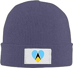 CUTEDWARF Rich Cotton Beanie Caps Warm Soft Hats Love Saint Lucia Flag Knit Skull Caps