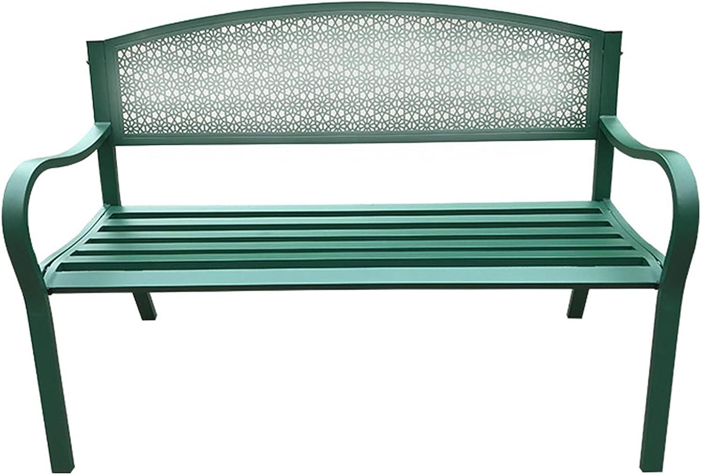 Sillas de hierro forjado de ocio para parques al aire libre,bancos dobles con respaldo y reposabrazos,bancos de jardín impermeables a prueba de sol,asientos de jardín de terraza de metal al aire lib