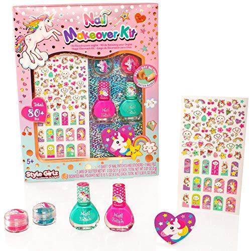 Style Girlz - Kit de Maquillage des Ongles de la Licorne - Coffret de vernissage, d'autocollants pour Ongles et de Maquillage pour Les Filles