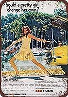 レトロなアルミニウムメタルサインティンサイン1971リーエアフィルターハザードサインあなたのステップアイアンポスター塗装ティンサインヴィンテージの壁の装飾カフェバーパブホームビール装飾工芸品