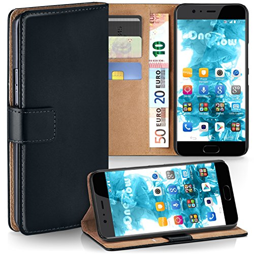 MoEx® Booklet mit Flip Funktion [360 Grad Voll-Schutz] für Huawei P10 Plus | Geldfach & Kartenfach + Stand-Funktion & Magnet-Verschluss, Schwarz