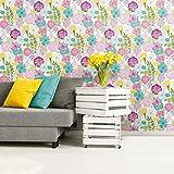 RoomMates - Papel pintado para pared, diseño de flores perennes, color morado
