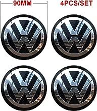 4PCS 90mm 3.54'' Auto Car Styling Accessories Emblem Badge Sticker Wheel Hub Caps Centre Cover fit for VW Volkswagen B5 B6 MK4 MK5 MK6 Golf Polo Passat SAGITAR Jetta CC MAGOTAN Scirocco Eos (Black)
