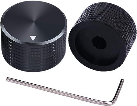 TWTADE / 2個黒6 mm直径シャフト用アルミニウムロータリーロータリー電子制御ポテンショメータノブ、ボリュームコントロールノブ、オーディオノブ、ギターノブ、スイッチノブ、直径25 mm。高さ15.5mm Bk