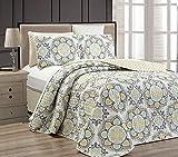 Linen Plus King/California King 3pc Reversible Oversized Bedspread Set Medallion Print Yellow White Green Light Grey New