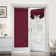 ستائر باب فرنسية، ستارة تعتيم معزولة حراريًا للأبواب مع نافذة زجاجية، أبواب للمطبخ والفناء للخصوصية. (أحمر، 66 سم × 172.7 ...