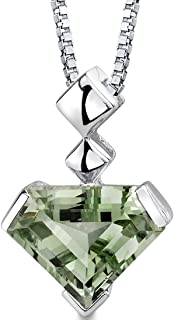 Superman Cut 6.25 Carats Green Amethyst Pendant Necklace Sterling Silver