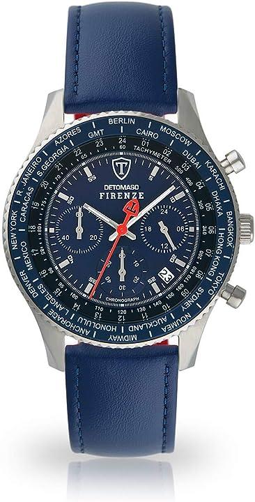 Detomaso firenze sl1624c-bl-659 - orologio da polso da uomo, cronografo, cinturino pelle blu