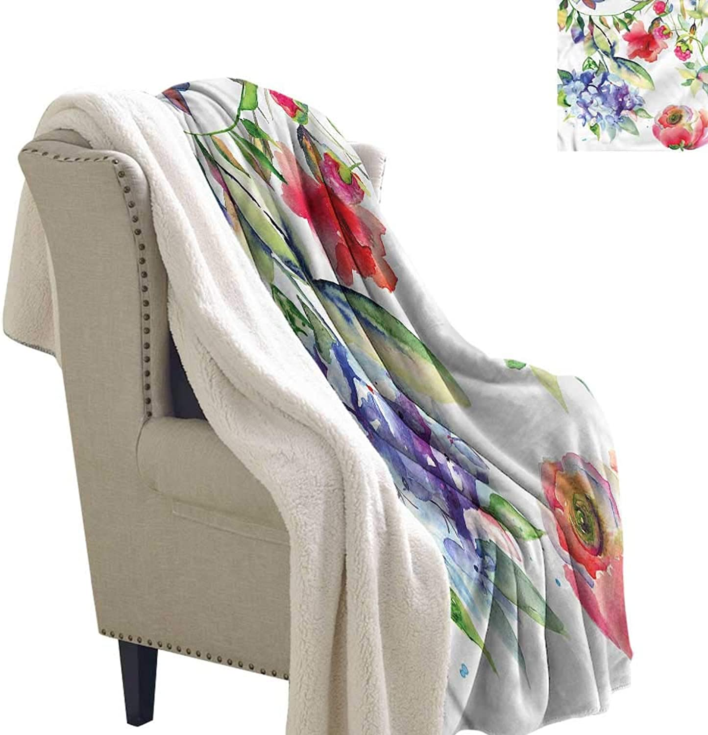 Beihai1Sun Art Berber Fleece Blanket Summer Flowers Branch Warm Breathable Comforter for Girls Kids Adults 60x47 Inch