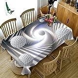XXDD Mantel Simple 3D Blanco y Negro patrón de Rayas Cubierta de Mesa Mantel a Prueba de Polvo decoración de la Boda Cubierta de Mesa A3 140x180cm