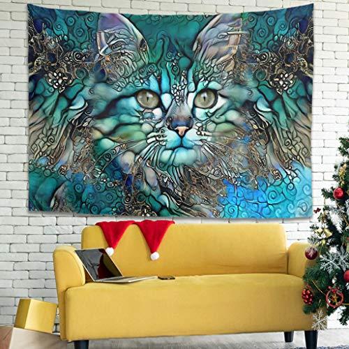 WellWellWell Tapiz de pared con diseño de gato artificial, 100 x 150 cm, color blanco