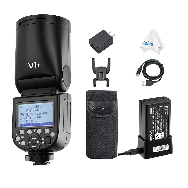 Godox V1-S TTL 2.4G GN92 76Ws Round Head Flash Speedlite with Li-ion Battery, 10 Level LED Modeling Lamp for Sony Cameras