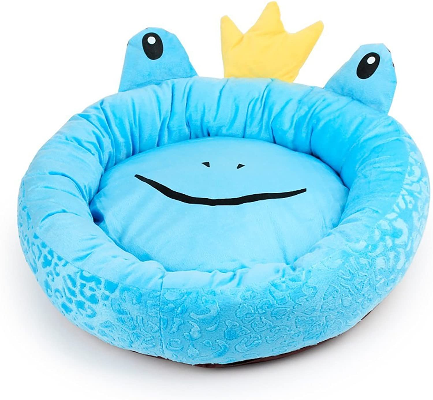 LongYu Pet Nest,Thick Soft Cotton Cute Cartoon Animal Frog Prince Pet Nest Autumn Winter Warm Removable Washable Round Waterloo Dog Bed Cat Bed Mat 4 color & 2 Size (color   bluee, Size   S)