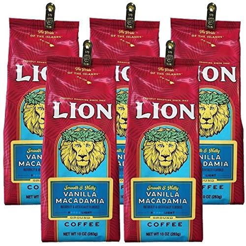 (ライオンコーヒー) バニラ マカダミアナッツ 283g×5パック (粉)