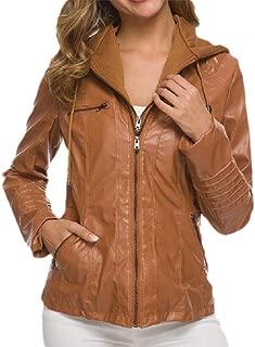 neveraway Women Fitness Hood Oversized Zip Up Fashion Leather Coat Jacket