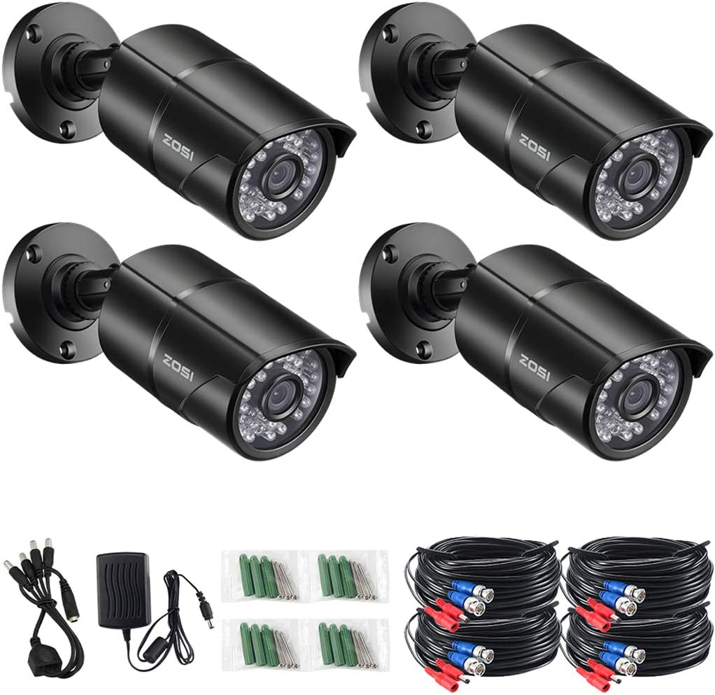 ZOSI 4 Pack 1.0 Megapixel 720P HD-TVI Security Cameras Day Night Waterproof Camera IR Distance 720P / 1080N / 1080P/ HD-TVI AHD CVI Analog DVR Systems (Renewed)