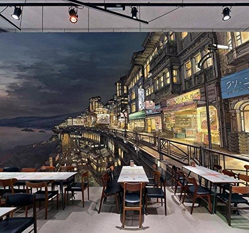 WH-PORP 3D Papel pintado Murales de papel tapiz en 3D Cocina japonesa personalizada en la calle japonesa de Osaka Street-Painted-450cmx300cm