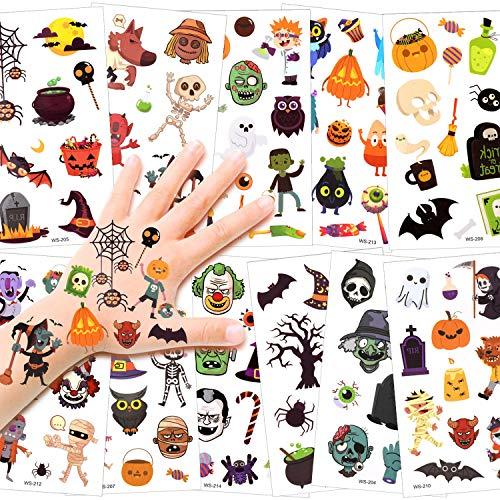 HOWAF Tattoo Kinder, Halloween Temporäre Tattoos Set, wasserdichte Kindertattoos Aufkleber für Jungen, Mädchen, Halloween Party Kindergeburtstag Mitgebsel, Fledermäuse Kürbis Hexen schädel Spinne