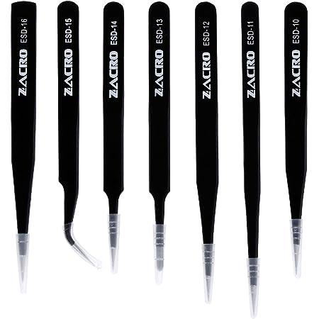 Zacro 7pcs Pince à épiler Acier inoxydable, Brucelles Antistatique/Pincette Antistatique ESD Pincette Pince de Précision - ESD10-16, Noir